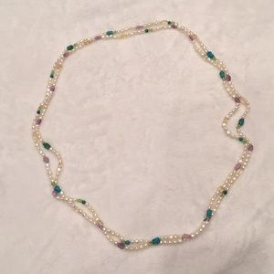 Costume pearls and beads long necklace